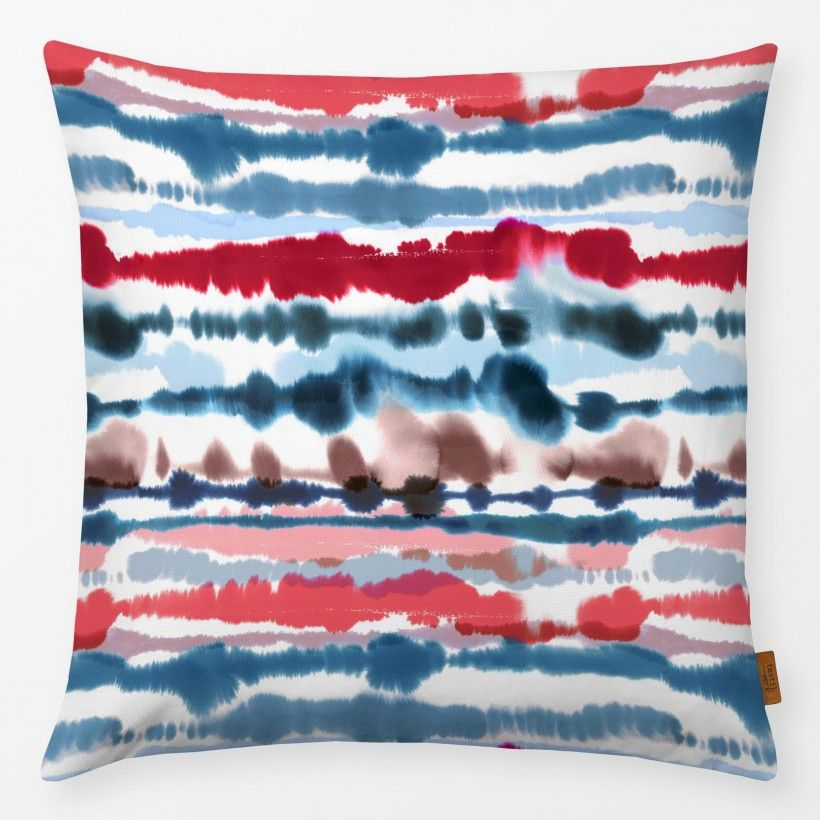 Kissen Soft Nautical Watercolor Lines Red