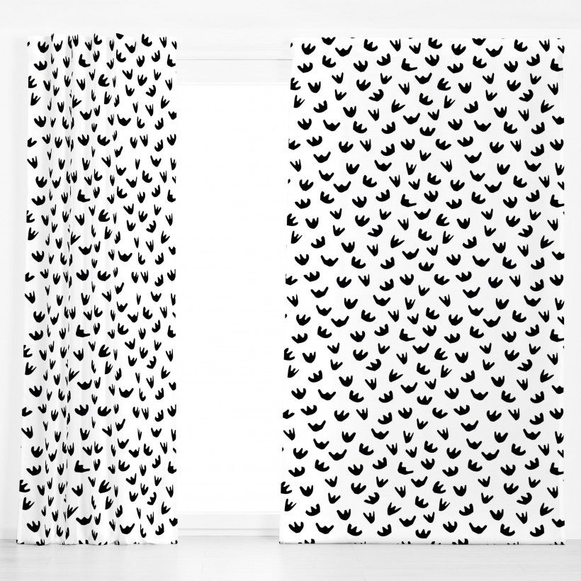 Vorhang Black And White Papercut Flowers
