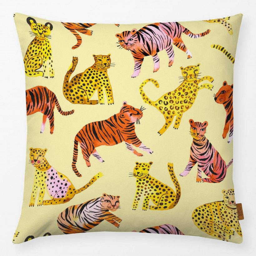 Kissen Tigers and Leopards Yellow