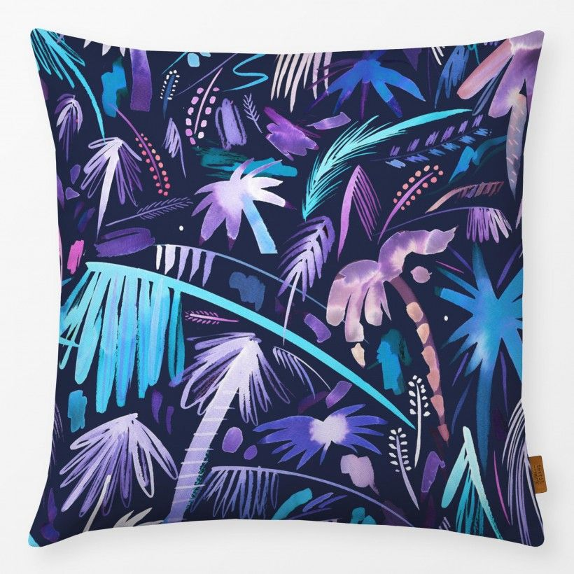 Kissen Brushstrokes Palms Purple